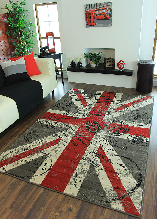 British Flag Union Jack Design Patchwork Rug Faded Pastel Colors