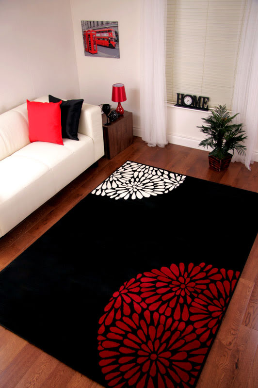 Modern Rug Red Black Ivory Small Large Quality Cheap Carpet Mats 2 Sizes Shiraz Ebay