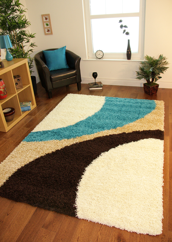Exceptional Teal Blue Cream Brown Modern Next Style Swirl Rug Soft Thick Non Shed  Shaggy Mat