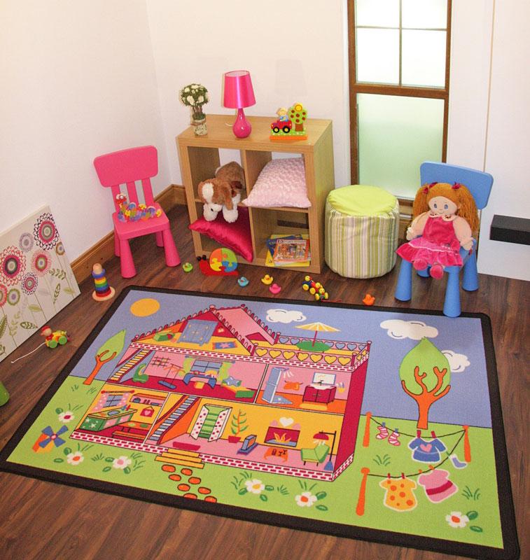 heller lustiger bunter pink m dchen puppenhaus teppich. Black Bedroom Furniture Sets. Home Design Ideas