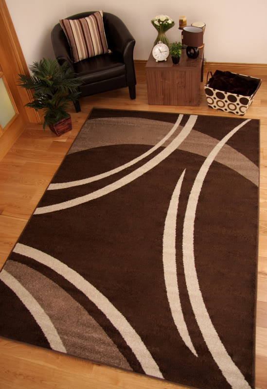 Toledo Chocolate Brown Modern Swirl Long Hall Runner Rug