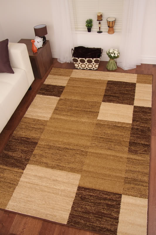 Toledo brown chocolate beige modern squares long hall runner rug cheap floor mat ebay for Chocolate brown bathroom rugs