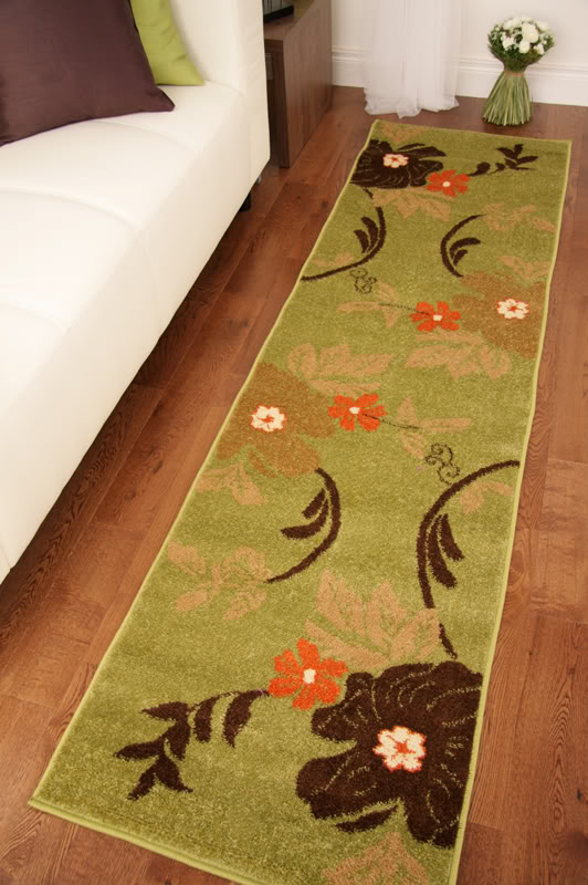 Toledo green brown orange modern floral long hall runner for Contemporary runner rugs for hallway