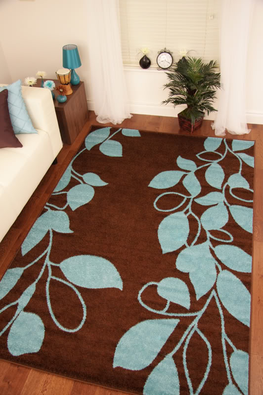 Toledo Chocolate Brown Teal Blue Modern Warm Rug Small Extra Large Floor Mats Ebay