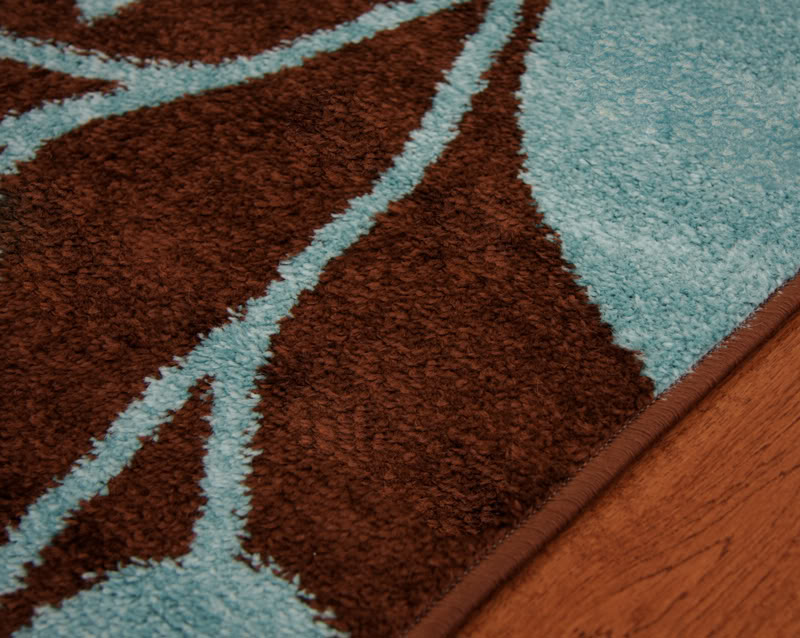 Toledo chocolate brown teal blue modern warm rug small extra large floor mats ebay for Chocolate brown bathroom rugs