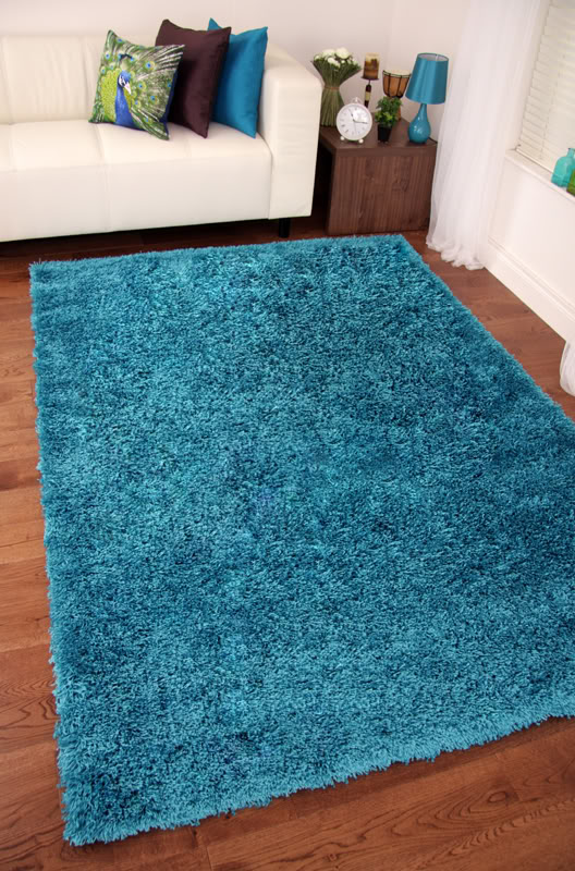 Stockholm Teal Blue Shaggy Rugs Small Large Thick Soft