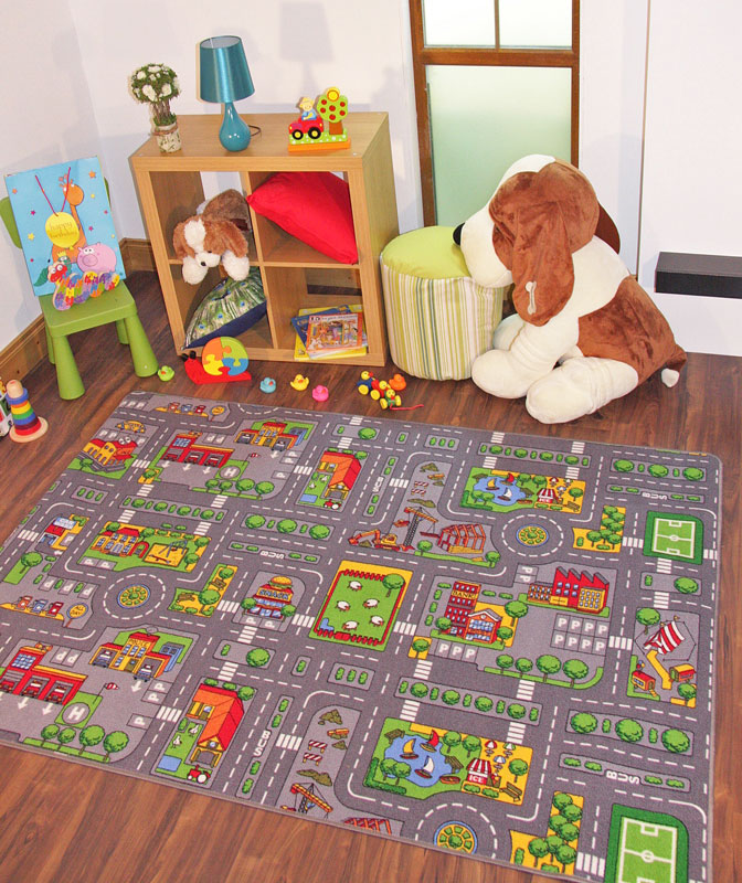 large kids play village rug city road mat town car rugs ebay. Black Bedroom Furniture Sets. Home Design Ideas