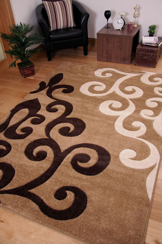 Large Flower Motif Dark Beige Brown Cream Small Floor Area