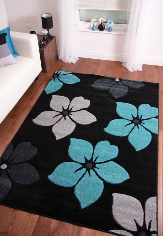 Modern Black Grey Teal Blue Flower Extra Large Area Floor