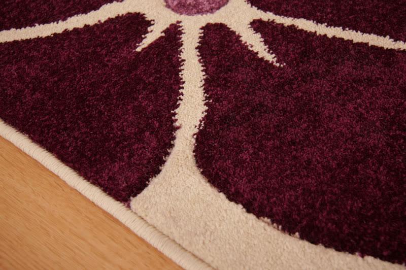 Large Modern Flower Design Ivory Cream Aubergine Purple