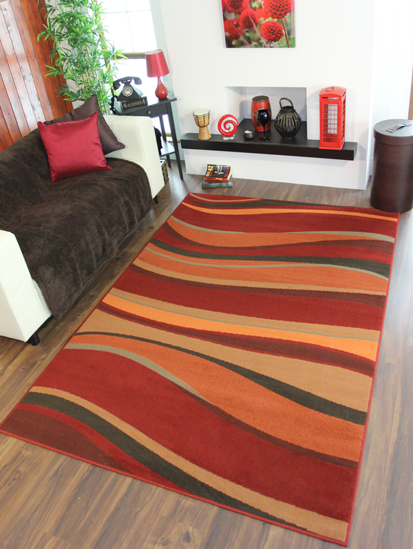 Warm Red Brown Burnt Orange Waves Rug Quality Shiraz Small