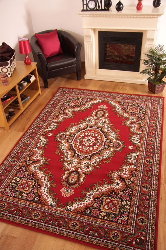 Traditional Floral Red Cottage Style Long Hall Runner Rugs