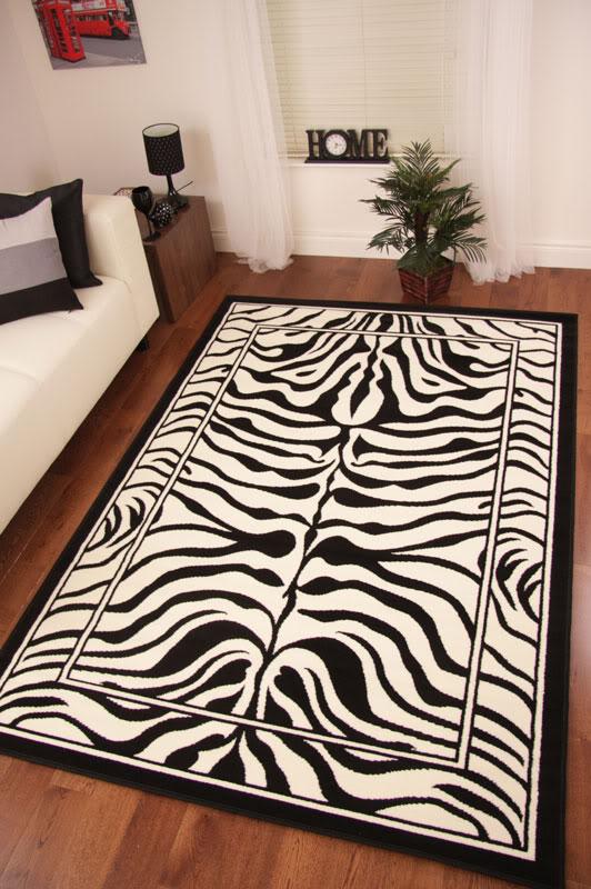 Modern black ivory zebra print rug animal safari small - Alfombras animal print ...