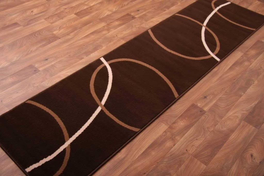 Chocolate brown long hall runner rugs modern plain swirl for Contemporary runner rugs for hallway