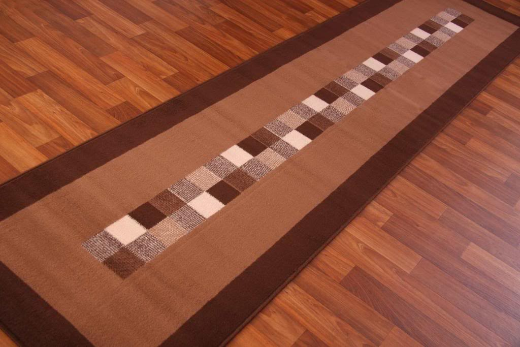 Runner rug dark chocolate brown modern long hall cheap for Contemporary runner rugs for hallway