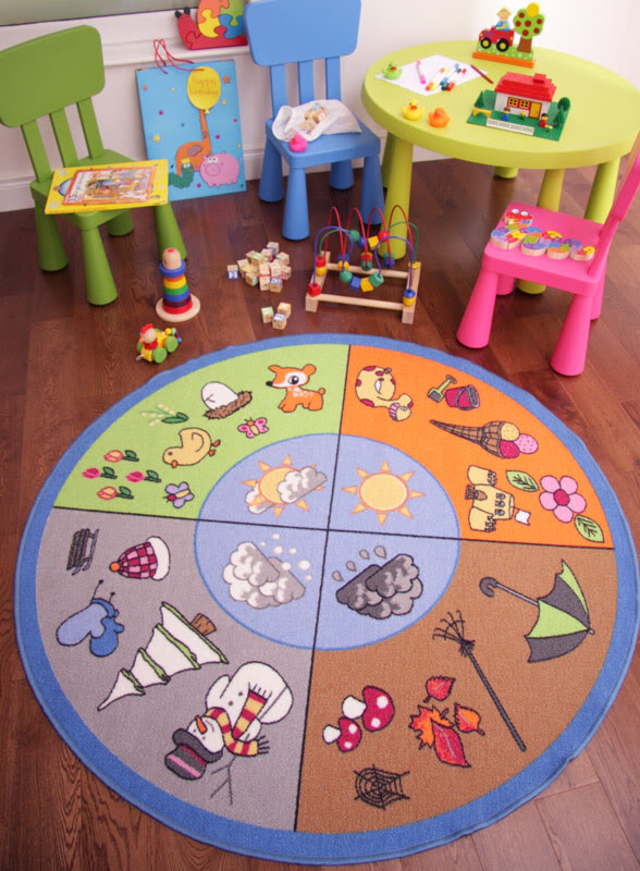 Fun Educational 4 Seasons Kids Mat Non Slip Quality Round