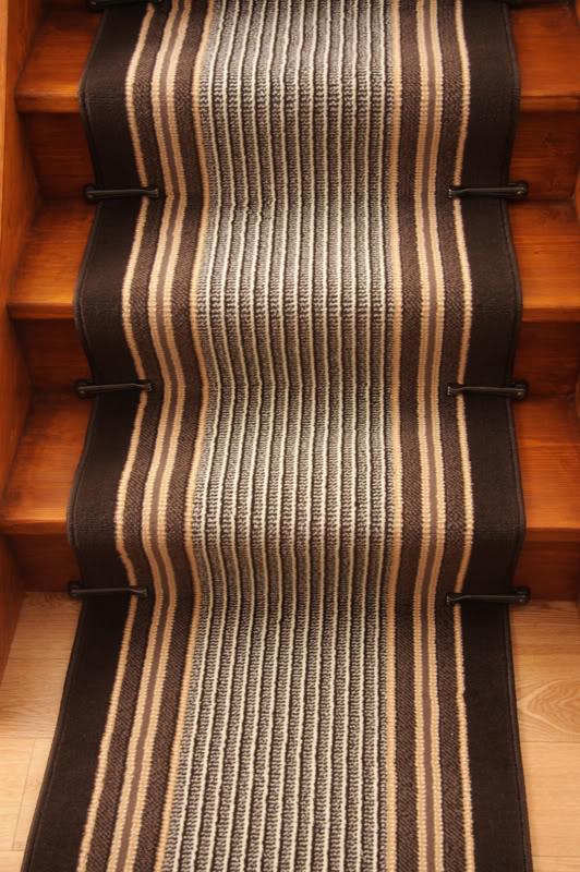 Lima Chocolate Brown Stripe Modern Stair Carpet Long Hall
