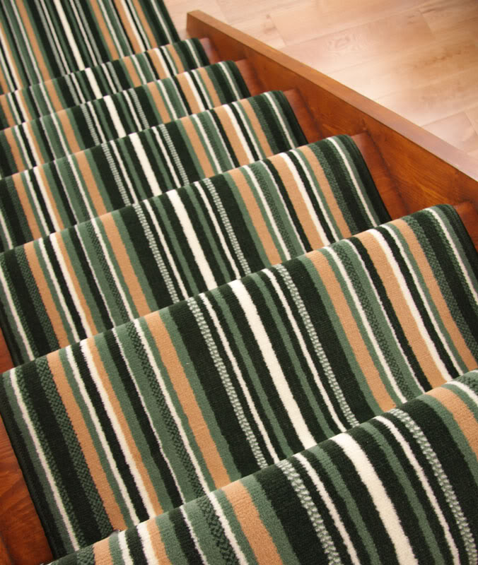 Lima Green Stripe Extra Long Runner Rug Wide Narrow Stair