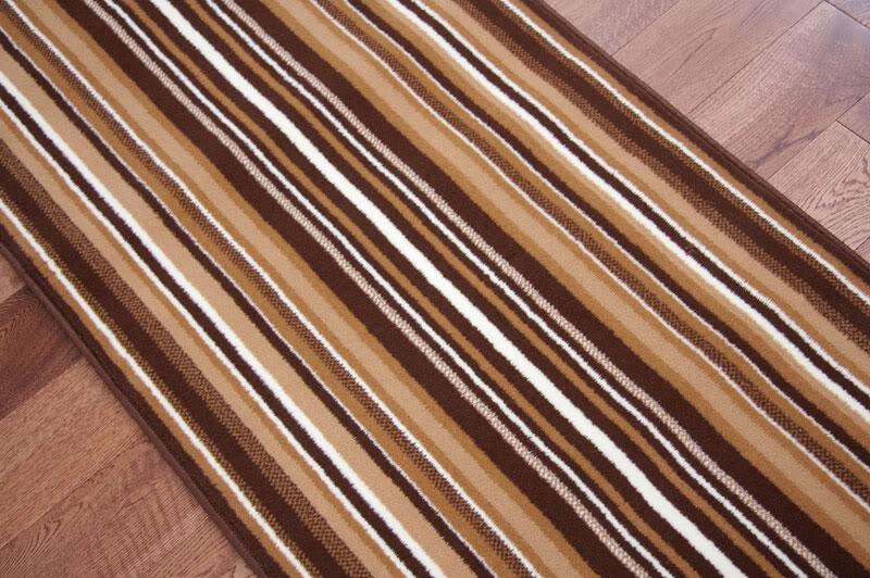 Lima Dark Brown Beige Modern Striped Wide Stair Carpet