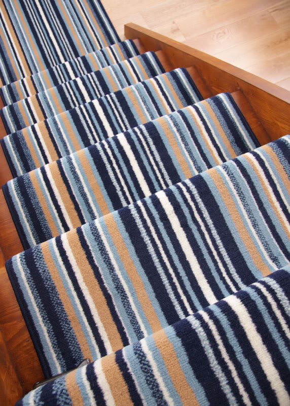 Lima Navy Blue Stripe Long Wide Narrow Stair Carpet Runner