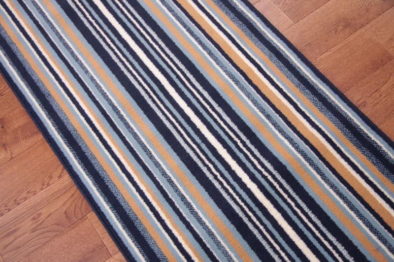 Lima Navy Blue Stripe Long Wide Narrow Stair Carpet Runner ...