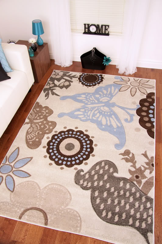 napoli ivory off white duck egg blue brown butterfly rugs. Black Bedroom Furniture Sets. Home Design Ideas