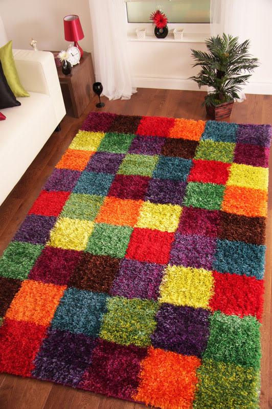 patchwork modern weich dick zotteliger teppich rot lila gr n blau orange ebay. Black Bedroom Furniture Sets. Home Design Ideas