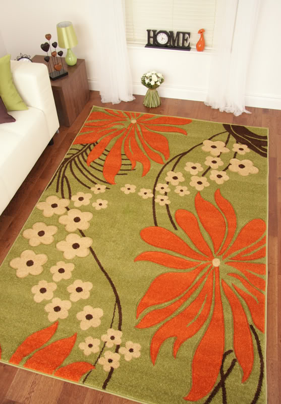Green Orange Small Apartment Living Room Decor: Napoli Green Orange Brown Modern Traditional Floral Rugs