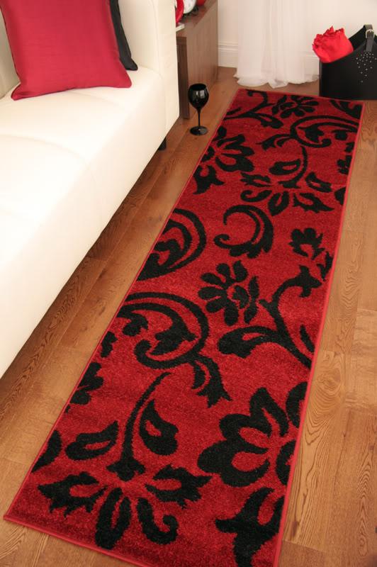 Toledo Rich Red Black Modern Stylish Long Hall Runner Rug