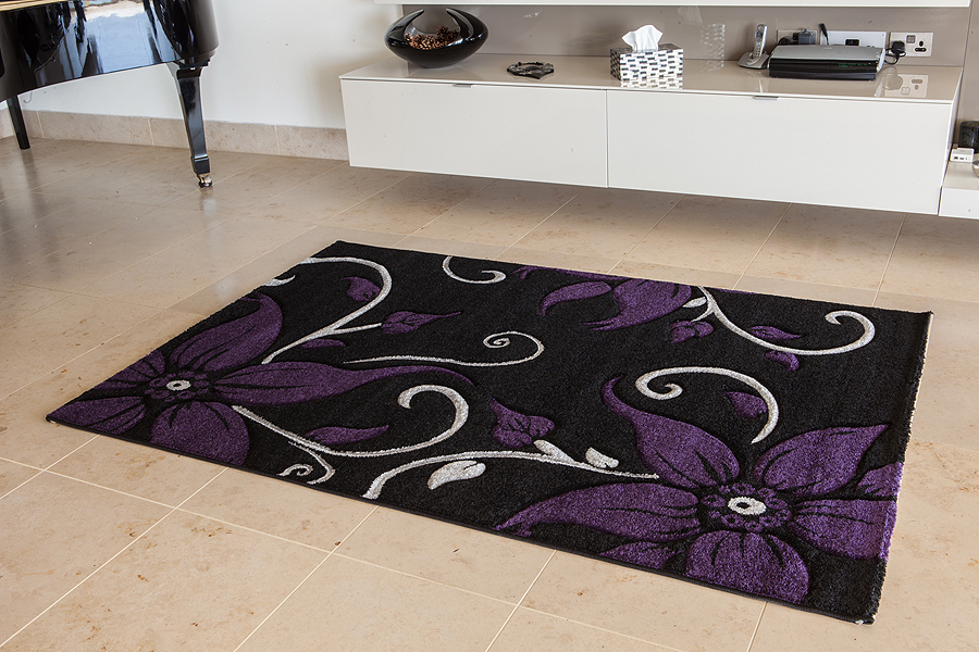 Modern Luxury Purple Black Floral Stem Rug Cheap Stain