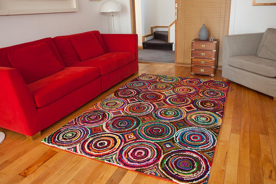 High Quality Cotton Multi Coloured Rag Rug Durable Colour
