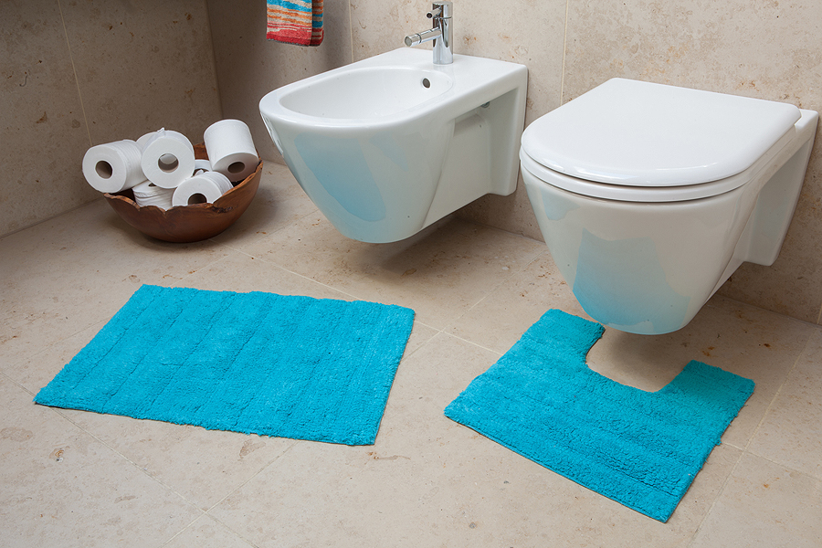 Thin teal blue cotton bath mat sets cheap soft touch for Teal bath sets
