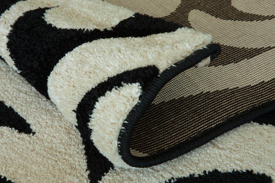 Modern Blumen Design Schwarz Teppich Läufer Preiswert