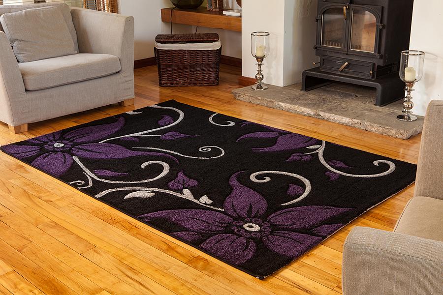 modern vorbau design schwarz teppich l ufer qualit t weich violett blatt flur ebay. Black Bedroom Furniture Sets. Home Design Ideas