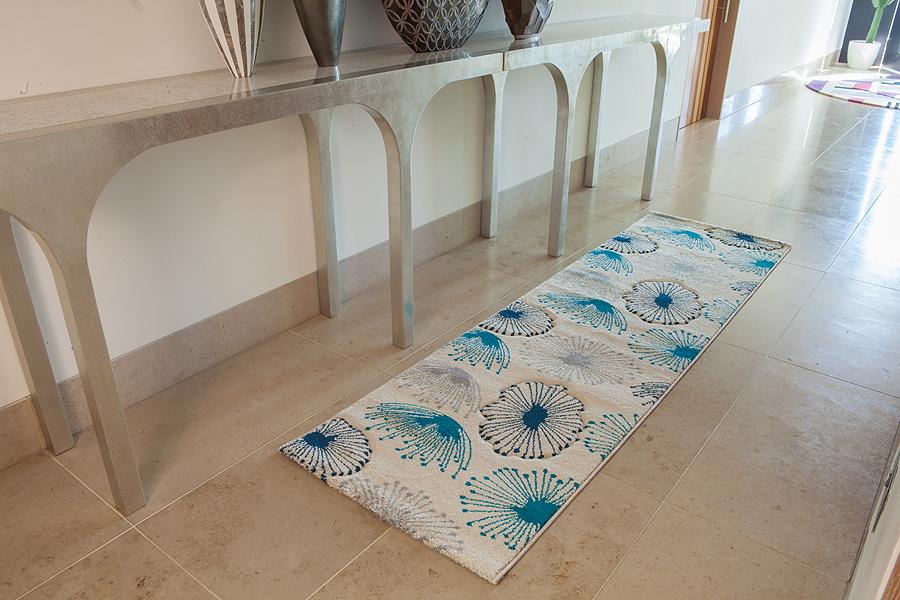 Teppiche für den flur  Flur Läufer Teppich Luxus Qualität Weich Blau Blüten Knospen ...