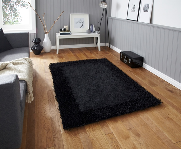 Cliquez sur l 39 image pour l 39 agrandir - Tapis shaggy noir brillant ...