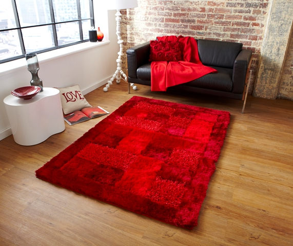 Affordable Modern Rugs: Bright Red Cheap Luxurious Modern High Gloss Quality