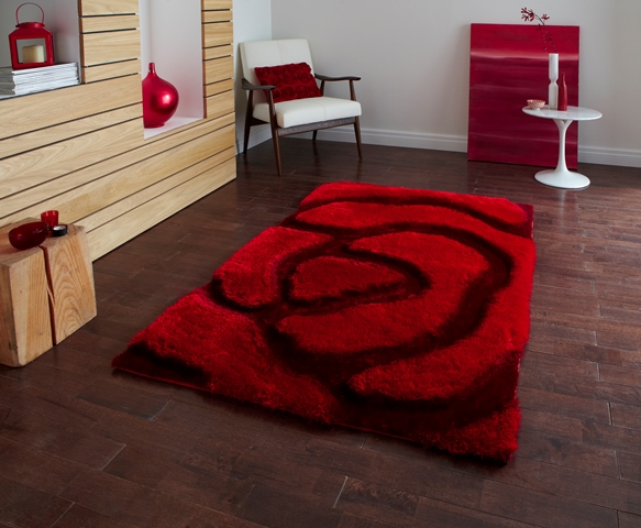 Modern Soft Deep Rich Red Rose Rug Thick Floral Carved 3d