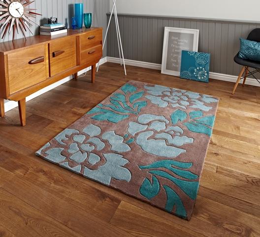 tapis salon extra souple bleu p le marron l ger pais l gant impression floral ebay. Black Bedroom Furniture Sets. Home Design Ideas
