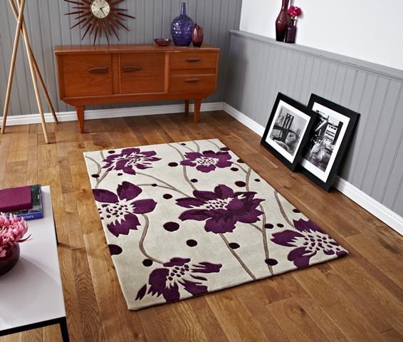 Xl Purple Rug: Small Modern Bright Cream Purple Runner Rugs Stylish