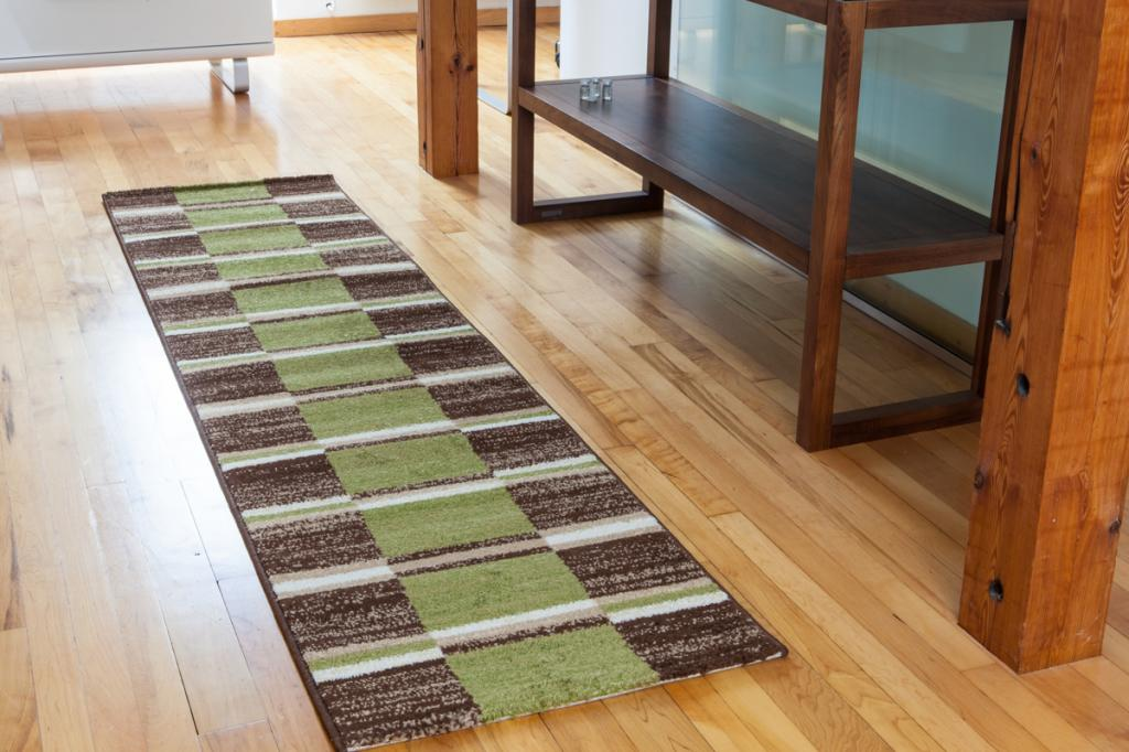 NEW Extra Long Cheap Green Brown Cream Checked Squares Patterned Hall