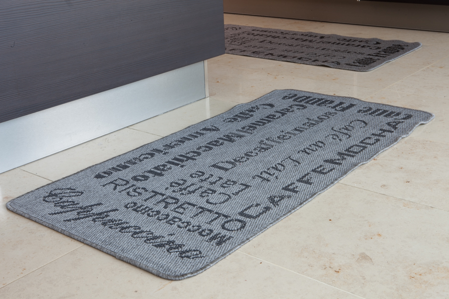 Modern grey jute style thin coffee rug small cheap cafe for Small rugs for kitchen