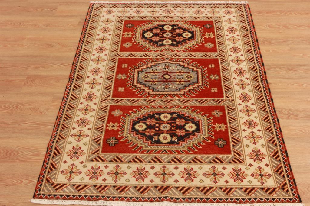 Peque o rojo geom trico alfombra oriental handmade lana for Alfombra persa roja