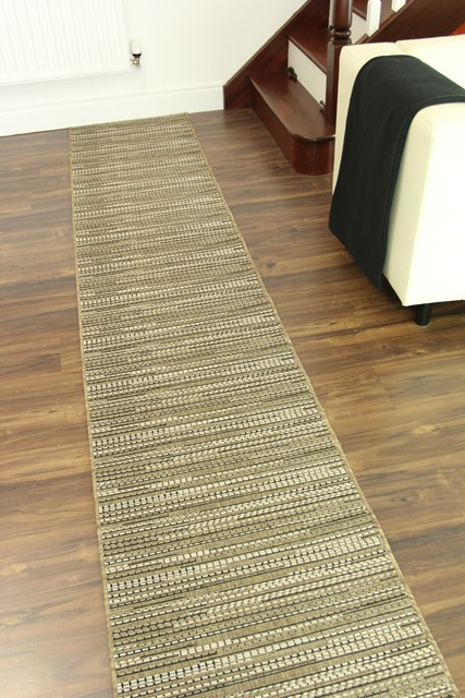 Heavy Duty Taupe Brown Black Jute Style Anti Creep Cut To