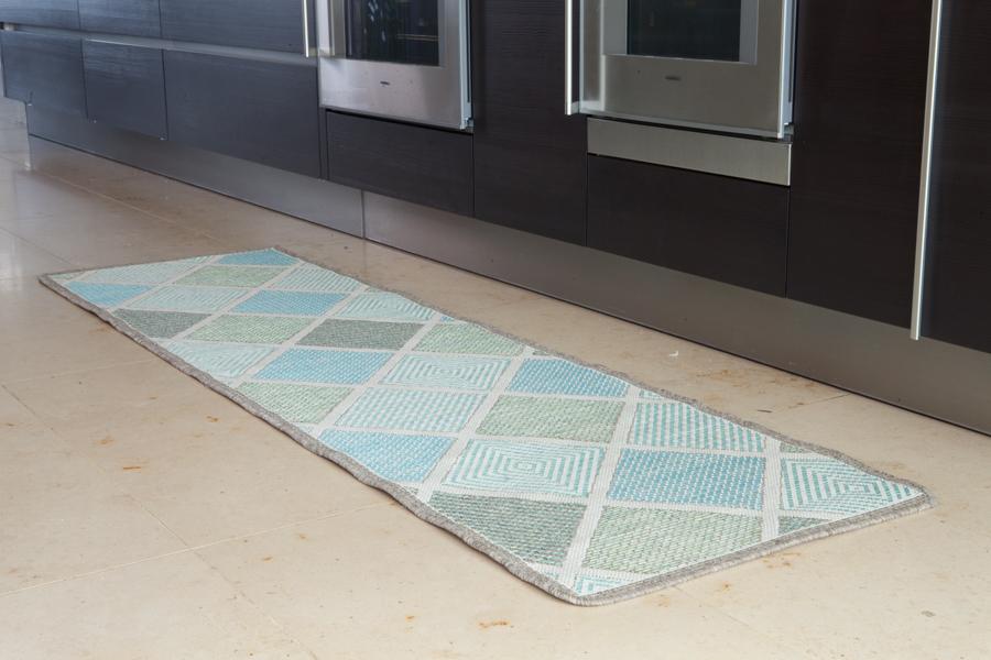Green Blue Jute Style Non Slip Design Runner Very Long Rubber Backed Hallway Mat : eBay