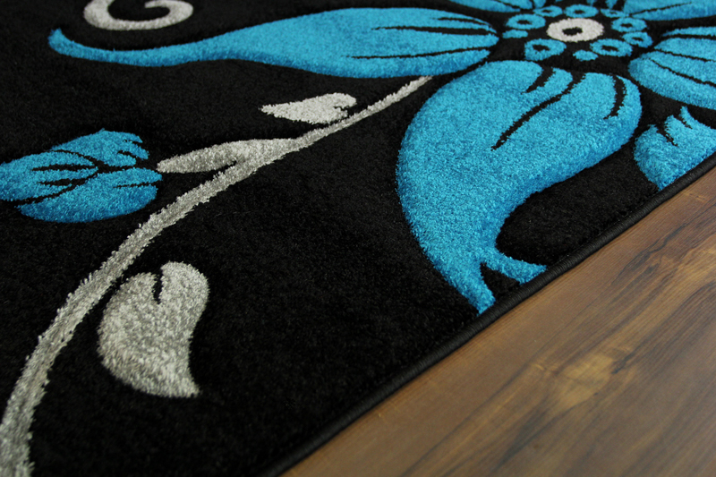 Large black teal grey floral print thick high quality for Thick area rugs sale