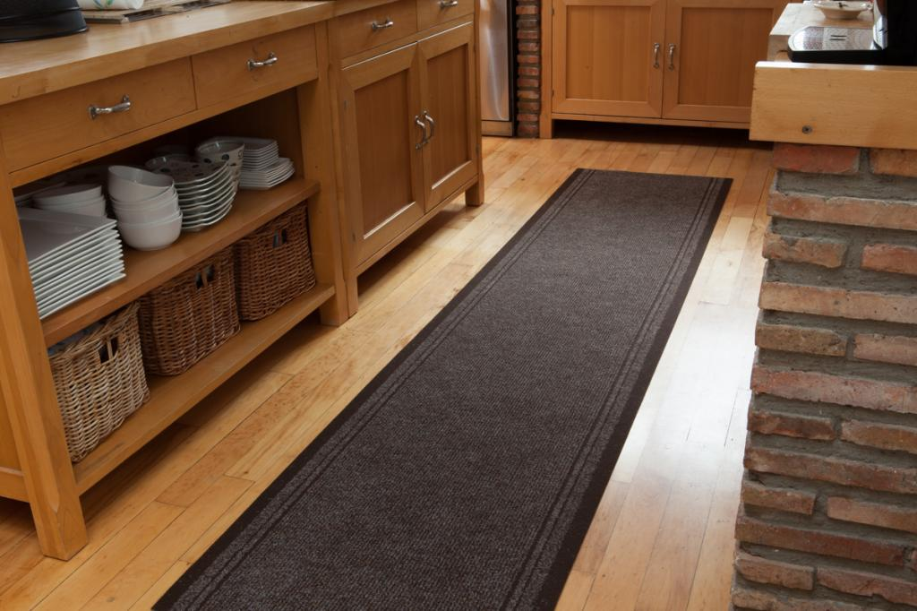 durable slip resistant rubber back long brown runner