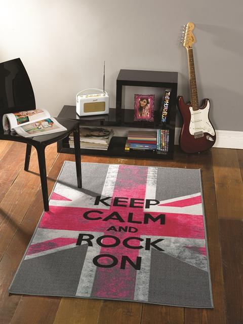 tapis chambre fille adolescente rose gris drapeau anglais 100x160cm