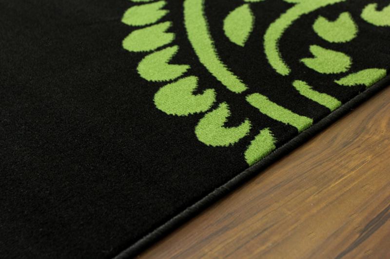 Teppich Schwarz Blau Grün Rosa Grauweiß Aztekenmuster