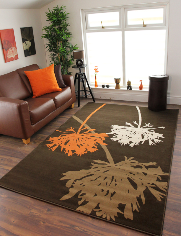 Tapis Salon Orange Et Marron : Tapis salon contemporain milan orange marron et beige